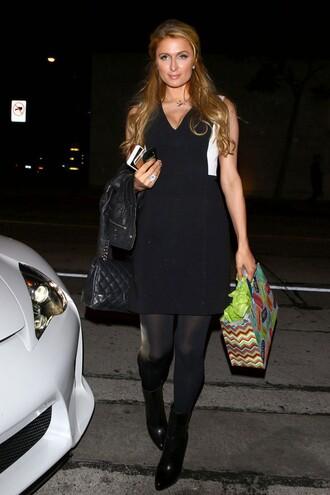 paris hilton chanel bag little black dress