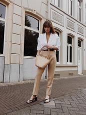 shoes,leather sandals,mid heel sandals,pants,bag,belt,white shirt