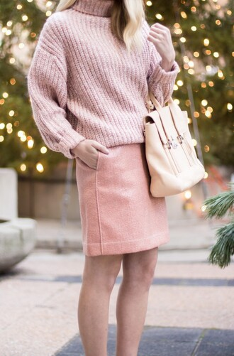 skirt sequin skirt mini skirt pink skirt sequins sweater pink sweater all pink everything bag pink bag turtleneck turtleneck sweater pink winter outfit