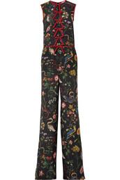 jumpsuit,bow,chiffon,embellished,floral,print,black,silk