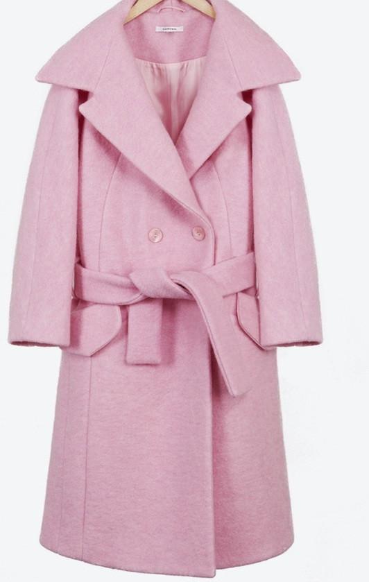 """bubblegum life"" long tie waist oversized pink coat – glamzelle"
