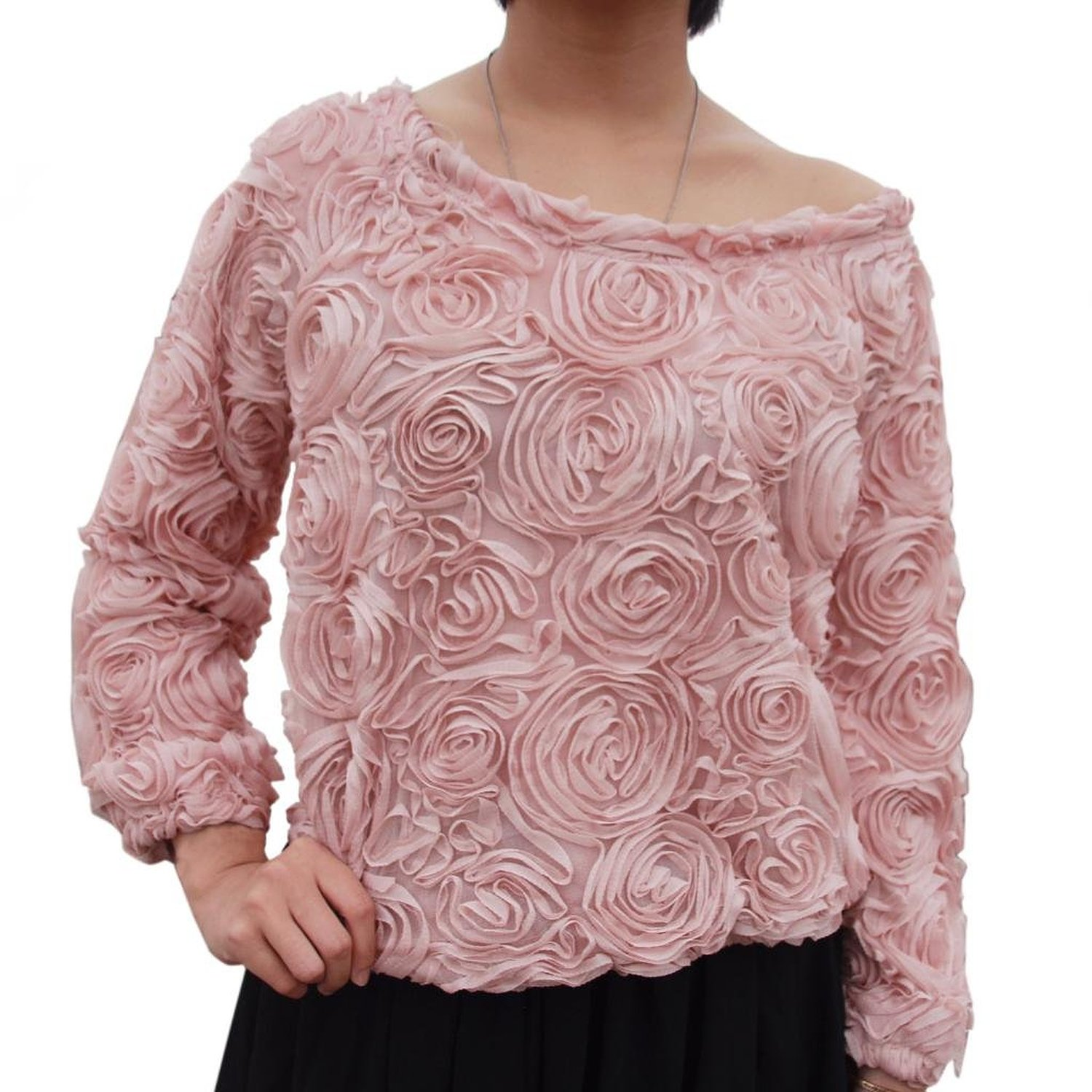 Lookbookstore damen frauen 3d mesh lace floral rose langarm top jumper pullover: amazon.de: bekleidung
