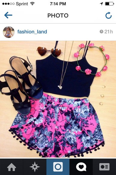 floral shorts shorts shorts floral pink black and blue