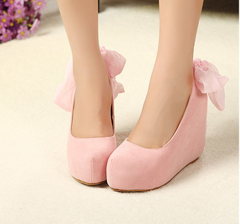 Sweet bow all match wedges single shoes platform round toe pink bridesmaid shoes female high heeled shoes  Free shipping!-inPumps from Shoes on Aliexpress.com