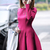 Rose Red Long Sleeve Flare Dress - Sheinside.com