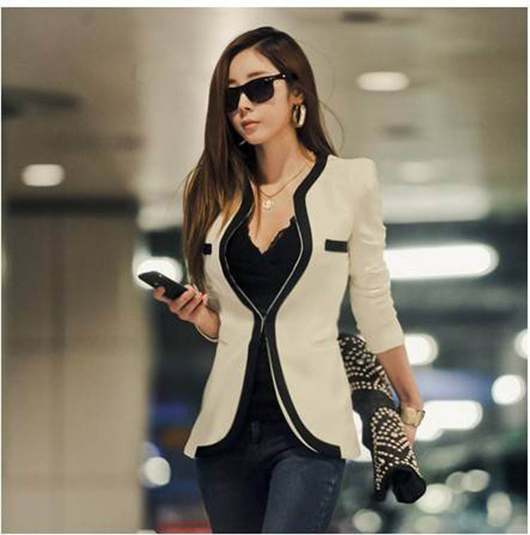 2014 New Fashion Winter Women Slim Blazer Coat Casual Jackets Long Sleeve V Neck Black White One Button Suit OL Outerwear J6607-in Basic Jackets from Apparel & Accessories on Aliexpress.com | Alibaba Group