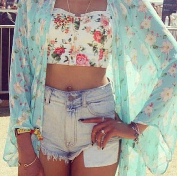top kimono flowered shorts