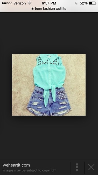shirt turquoise studs
