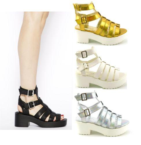 WOMENS GLADIATOR RETRO CUT OUT CHUNKY LOW BLOCK HEEL SANDALS SHOES ...