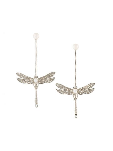 Axenoff Jewellery women dragonfly earrings silver grey metallic jewels