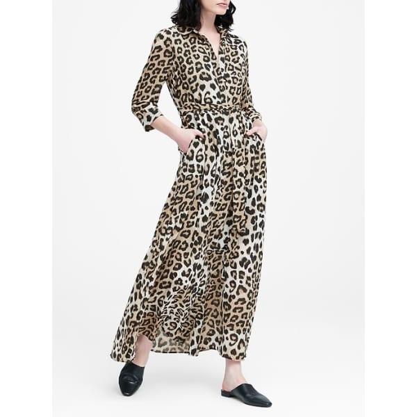 Banana Republic Women's Leopard Print Maxi Shirtdress Leopard Print Regular Size 0