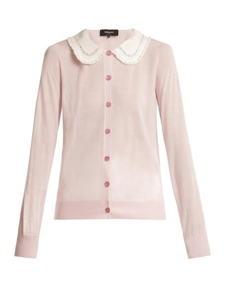 Rochas cardigan cardigan white pink sweater