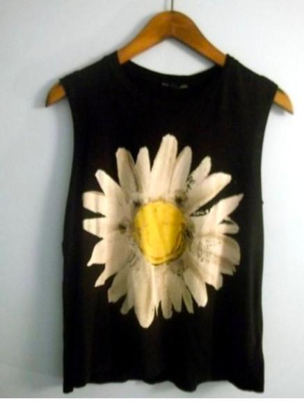 shirt t-shirt black daisy floral