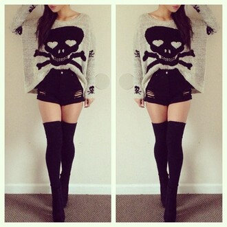 shorts clothes black skull legs sweater high waisted shorts black long socks blouse oversized sweater pants coat grey dead head large scull grunge punk rock cute black shorts skull sweater overknees knee high socks socks high waisted ripped shorts punk shirt