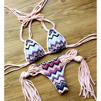 swimwear fringes bikini pattern pink summer beach trendsgal.com