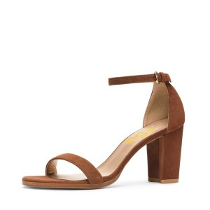 Women s Brown Ankle Strap Open Toe Chunky Heel Sandals