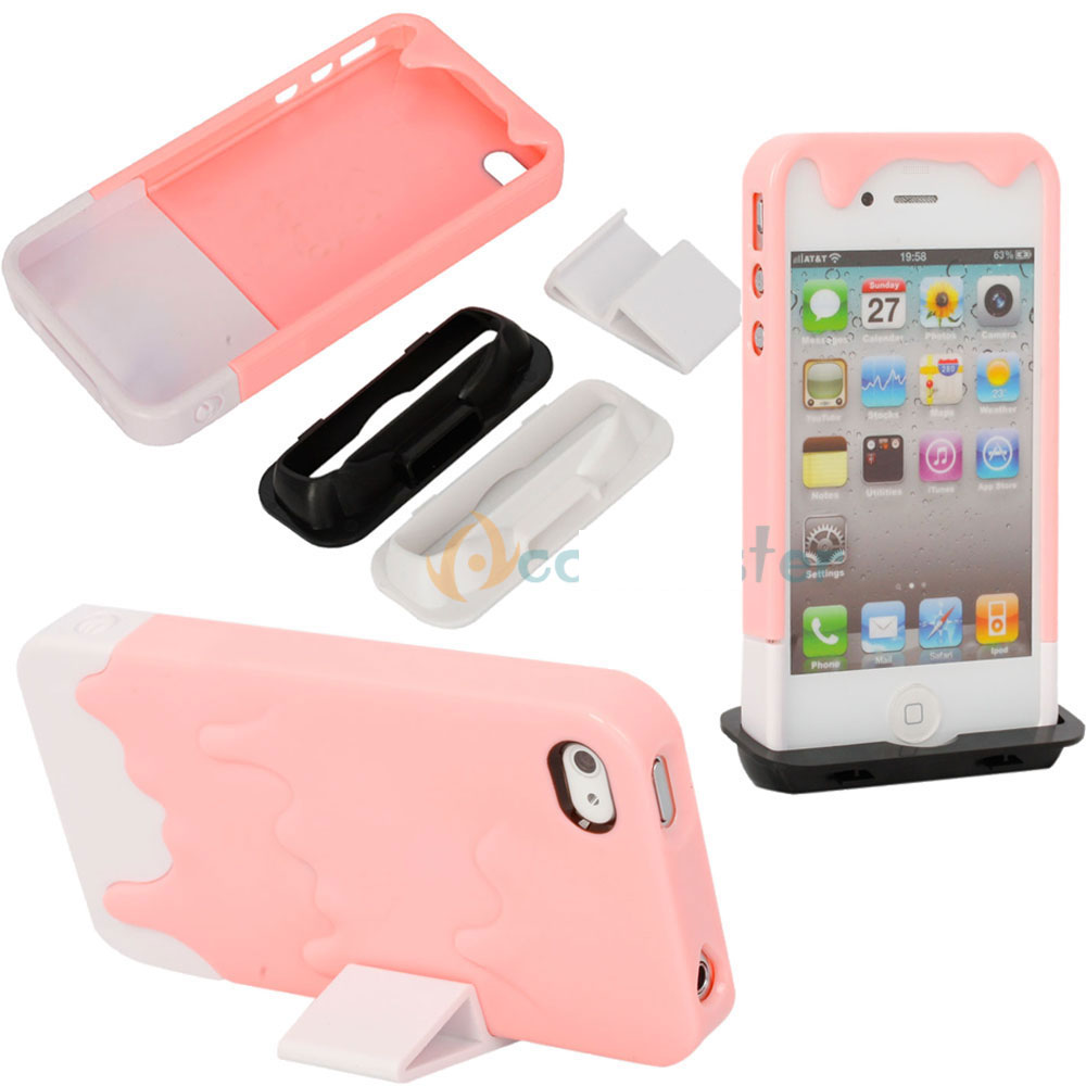 3D Melt Ice Cream Plastic Skin Hard Case Cover for iPhone 4 4S Pink [EUS350662584622] - $8.62 : Digital Accessory, Digital Accessory Shop