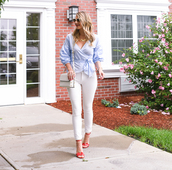 visions of vogue,blogger,top,jeans,shoes,bag,sunglasses,jewels,sandals,high heel sandals,shoulder bag,blue shirt,white pants,fall outfits