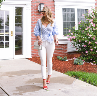 visions of vogue blogger top jeans shoes bag sunglasses jewels sandals high heel sandals shoulder bag blue shirt white pants fall outfits