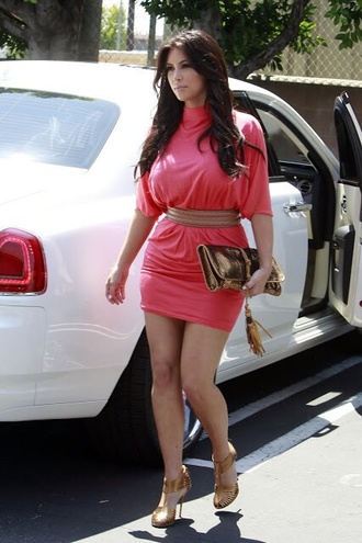 belt pink dress kim kardashian high heels pretty