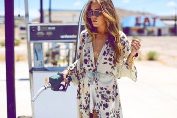 dress kimono white black summer dress boho dress