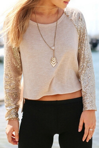 blouse top zaful cream shimmer sequins casual style pretty back to school blogger glitter