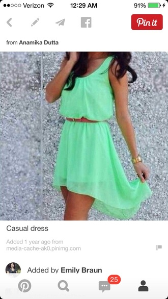 high low belted belted dress bright green sleeveless fitted waist sheer