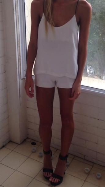 tank top shorts top white pants