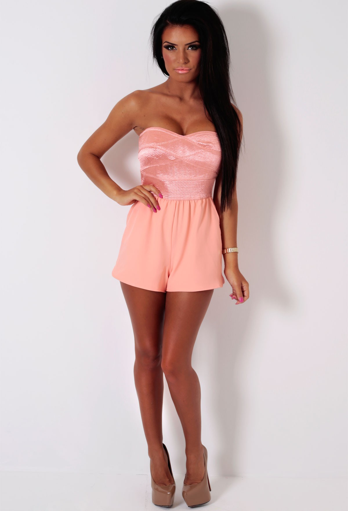 Oriel LUXE Peach Strapless Bandage Playsuit | Pink Boutique