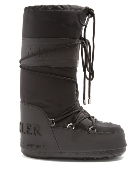 moncler boot moon leather black shoes