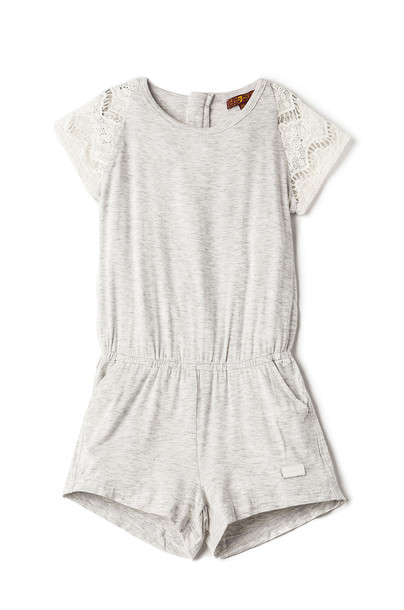 7 For All Mankind Kids Short Sleeve Romper in gray