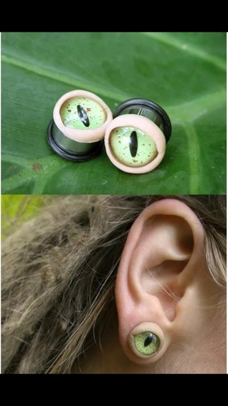 jewels ear plug green piercing snake eye weird unique dress odd cool grunge earrings ear piercings plugs stretched ears cute style jeweld accessories accessory extensions curly cute brunette