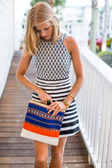 white black stripes summer dress muster