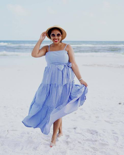 Dress Hat Tumblr Beach Maxi Dress Blue Dress Long Dress