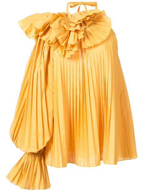 Rosie Assoulin blouse pleated women cotton yellow orange top