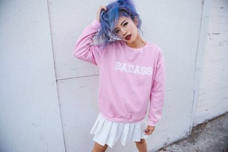 sweater badass oversized sweater light pink