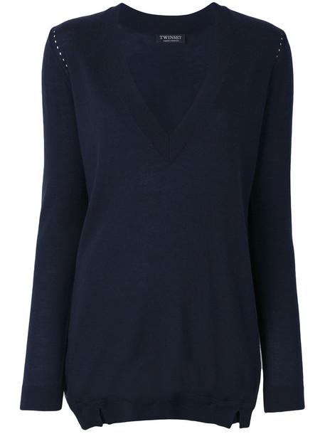 Twin-Set - deep V-neck sweater - women - Wool - L, Blue, Wool