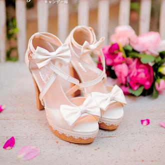 shoes heels chunky heels chunky sole chunky shoes platform heels bows bow shoes kawaii asian fashion cfashion chinese fashion tokyo fashion japanese fashion korean fashion kfashion strappy heels