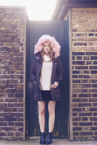 at fashion forte blogger sweater pastel pink fuzzy coat winter coat mini skirt coat skirt jewels shoes
