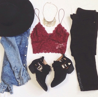bralette fashion inspo statement necklace ankle boots fedora hat black jeans on point clothing stylish styled needhelp