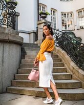 top,yellow top,off the shoulder top,crop tops,skirt,midi skirt,white skirt,shoes,bag,pink bag