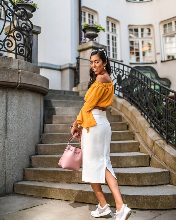 top yellow top off the shoulder top crop tops skirt midi skirt white skirt shoes bag pink bag