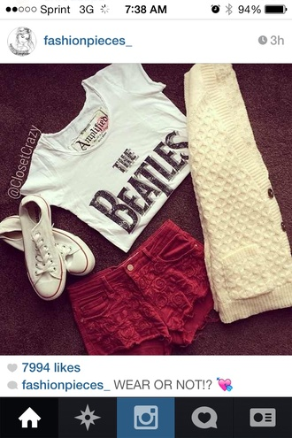 sweater shorts t-shirt red shorts white cream beatles