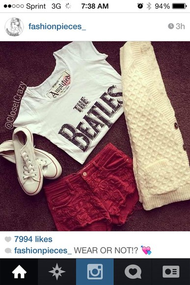 red shorts shorts t-shirt white cream beatles sweater