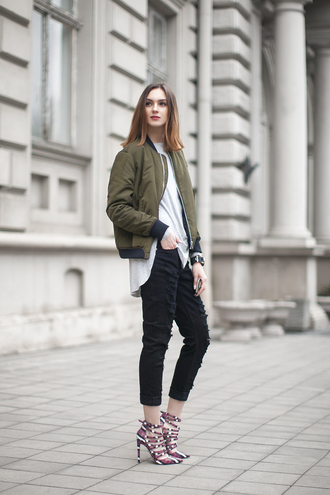 jacket white shirt green bomber jacket black jeans strappy sandals blogger