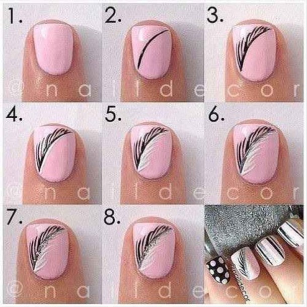 nail polish, nail art, pink, black, white - Wheretoget