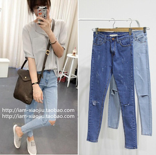2014 High quality summer autumn European fashion women Jeans hole ripped design female Pencil Pants trousers free shipping-in Jeans from Apparel & Accessories on Aliexpress.com
