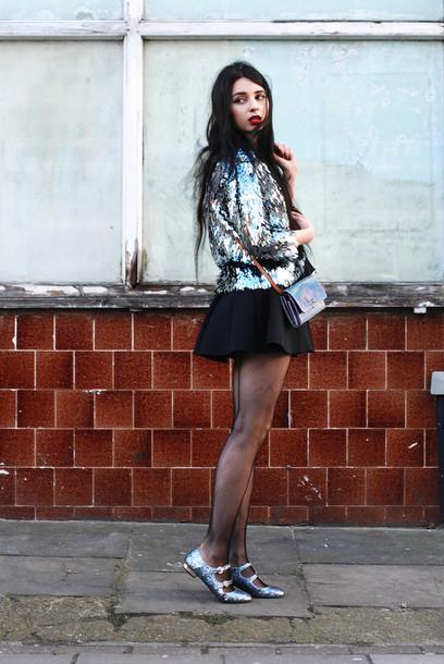 ams la la land blogger jacket shiny mini skirt black skirt holographic mini bag