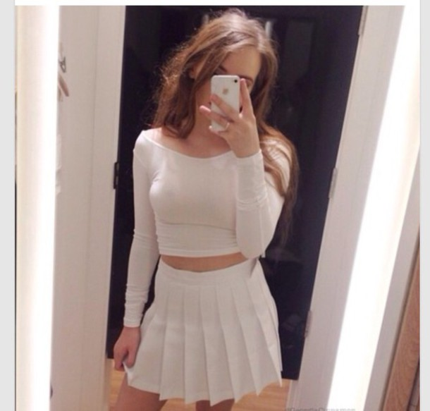 skirt white white skirt fashion girly outfit pleats pleated skirt