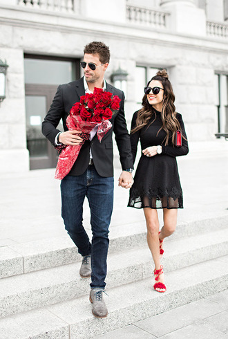 hello his blogger sunglasses couple valentines day black dress menswear red shoes